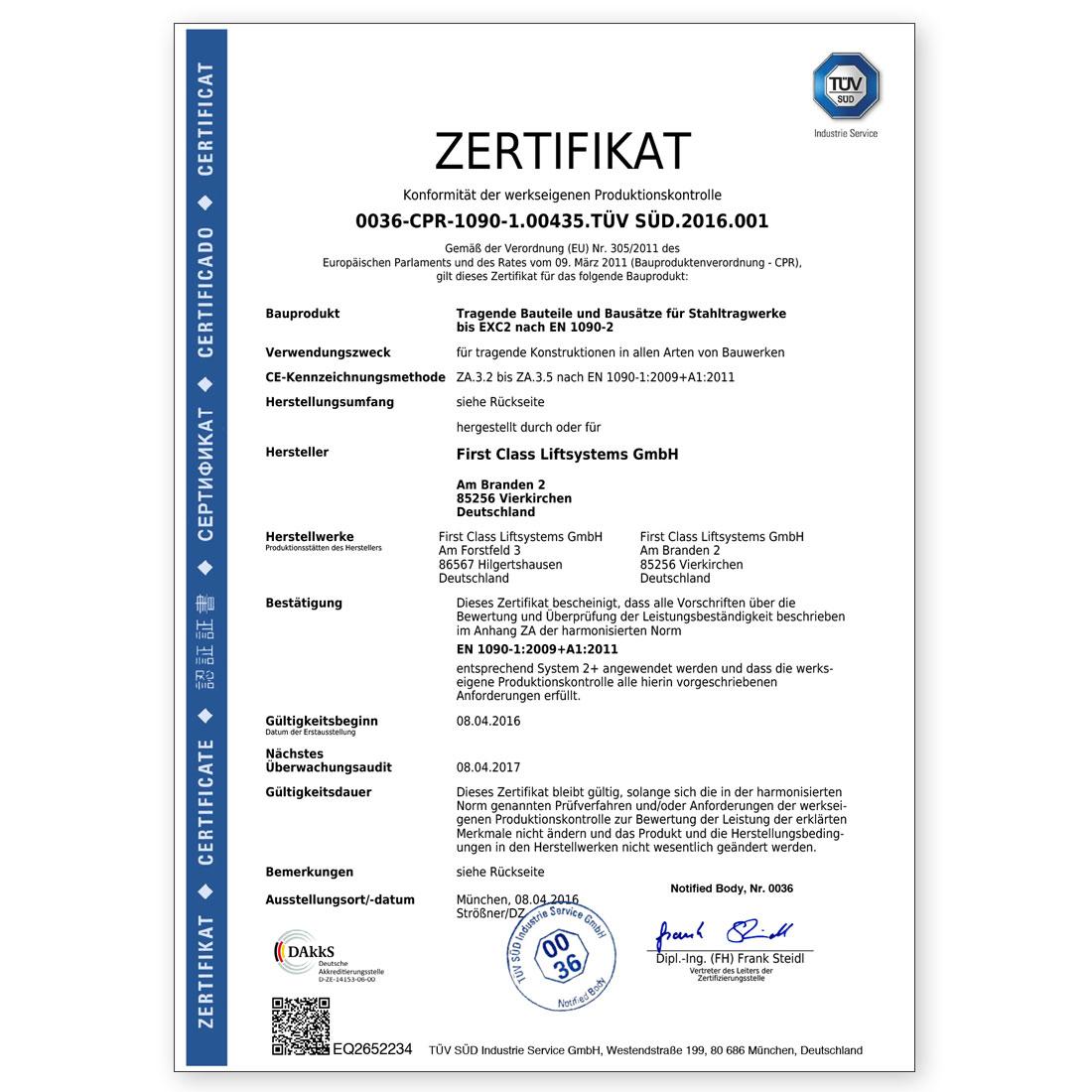 Konformitäts-Zertifikat
